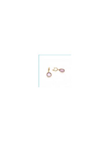 MK 012 Cercei aur roz cu ametist  si...