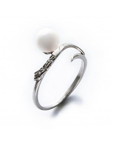 MD 030 Inel aur alb cu diamant si perla alba