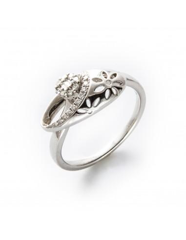 MD 033 Inel aur alb cu diamante albe
