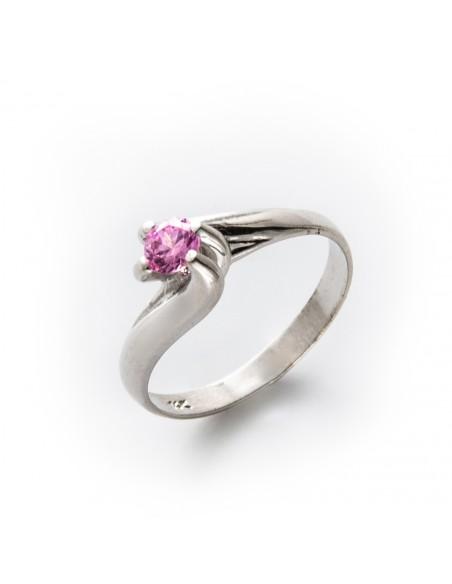 MI 649 Inel de logodna aur alb si zirconiu roz