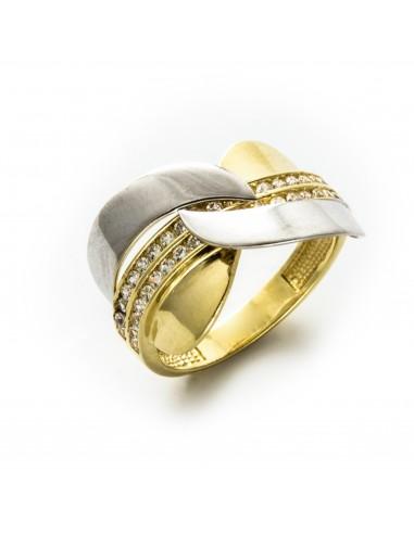 PI 065 Inel aur galben si alb zirconii albe