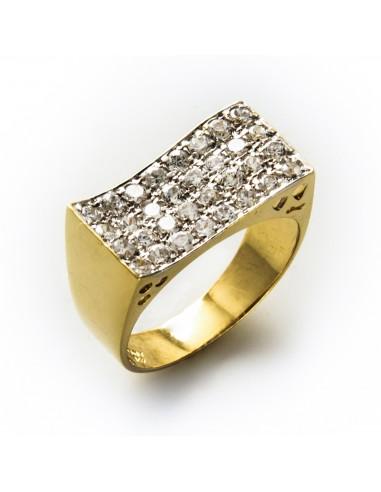 PI 076 Inel aur galben cu zirconii albe
