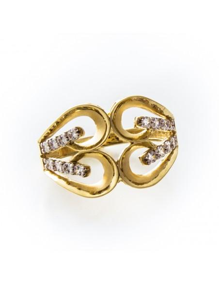 MI 092 Inel aur galben cu zirconii albe