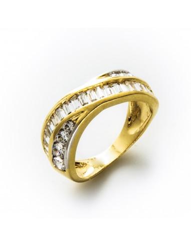 MI 057 Inel aur galben cu zirconii albe