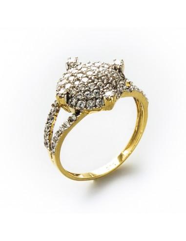 MI 056 Inel aur galben cu zirconii albe