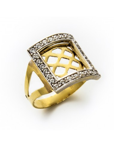 MI 039 Inel aur galben si aur alb cu zirconii albe