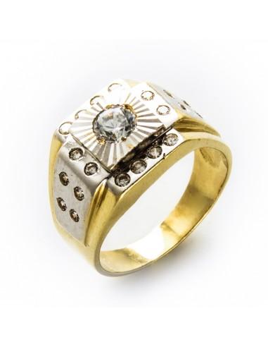 MI 095 Inel barbatesc aur galben si alb cu zirconii albe