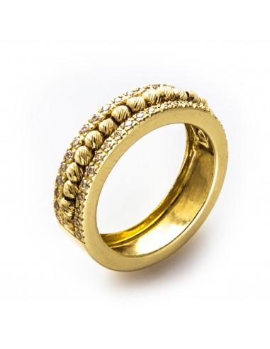 MI 507 Inel aur galben cu bile si zirconii