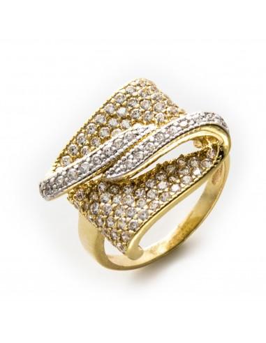 MI 501 Inel aur galben si zirconii albe stilizat