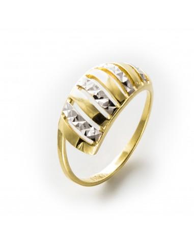 MI 493 Inel aur galben si aur alb fatetat