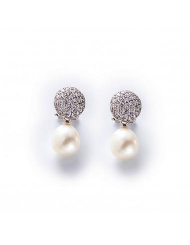MC 237 Cercei aur alb cu perla de...
