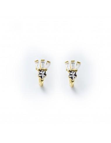 MC 257 Cercei aur galben cu zirconii albe si fatete