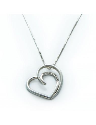 MD 075 Lant cu pandantiv inima din aur alb cu diamante