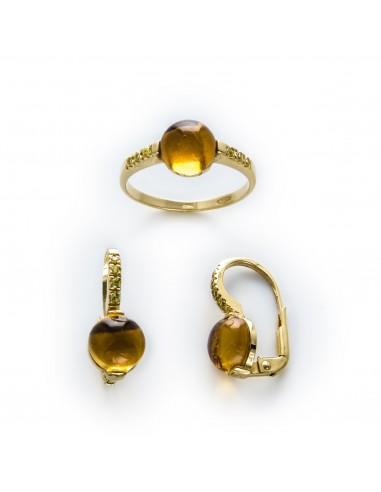 MS 227 Cercei aur galben cu citrine ATENTIE! INELUL NU MAI FACE PARTE DIN OFERTA