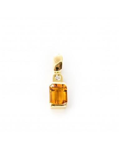 MD 004 Pandantiv aur galben cu citrin si diamant