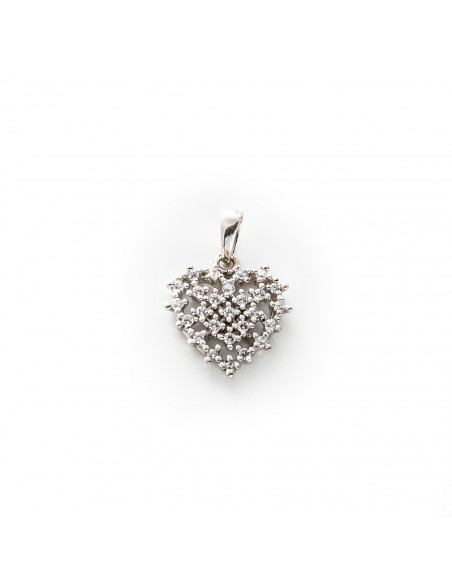 MP 304 Pandantiv aur alb inima cu zirconii albe