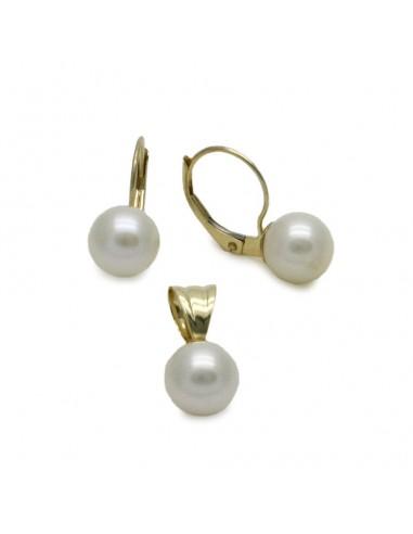 MS 419 Set aur galben cu perle albe de cultura