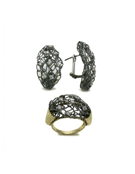 MS 437 set inel si cercei, aur galben si negru, lucratura deosebita