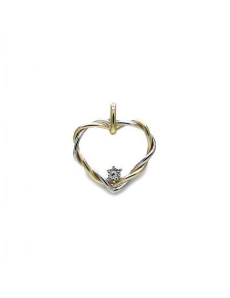 MP 372 Pandantiv aur alb si galben inima impletita cu zirconiu alb