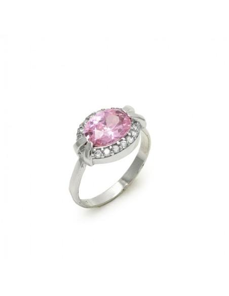 MI 826 Inel aur alb 14k cu piatra roz