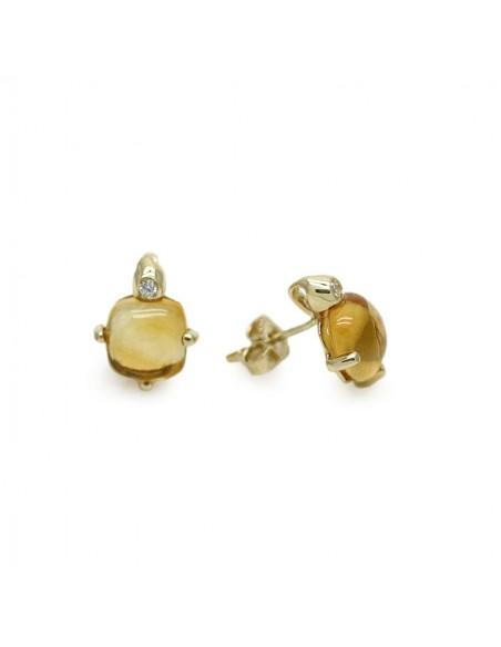 MC 957 Cercei aur galben cu surub, piatra citrine si zirconii