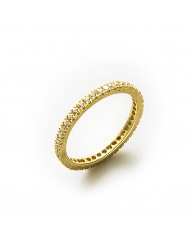 MI 848 Inel eternity aur galben cu pietre albe