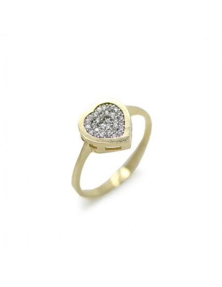 MI 869 Inel aur galben cu zirconii albe inima