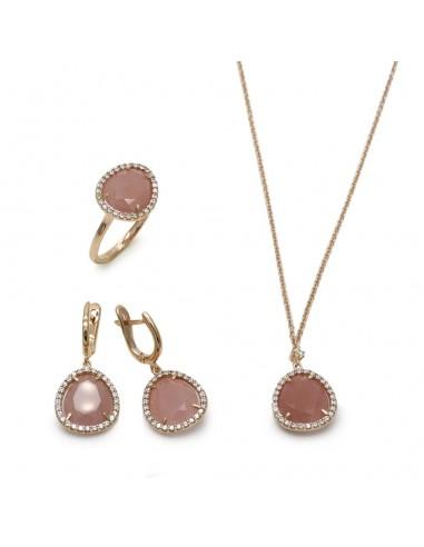 MS 471 Set aur roz 14k cu pietre cuart roz si zirconii albe