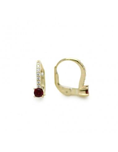 MC 1068 Cercei aur galben 14k cu zirconii si rubine sintetice