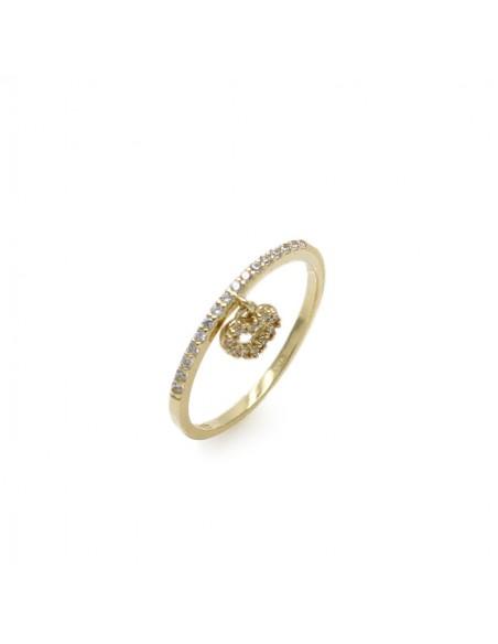 MI 091 inel aur galben14k model inima cu zirconii