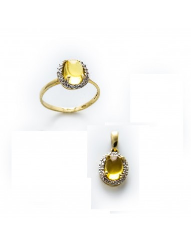 MS 313 Set aur galben cu citrine si zirconii albe