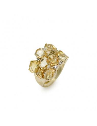 MI 086 Inel aur galben 14 K cu pietre