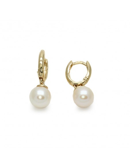MC 964 Cercei aur galben 14k cu perle albe de cultura