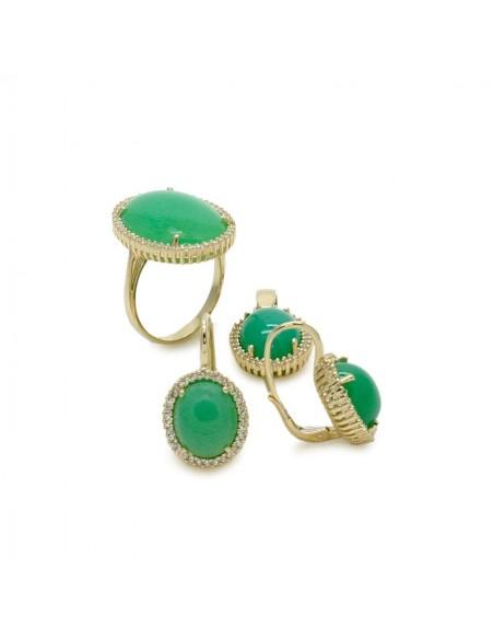 MS 078 Set aur galben 14K cu agata verde si zirconii