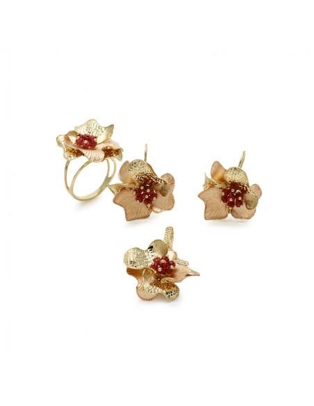 MS 073 Set aur galben si roz 14K model trandafir